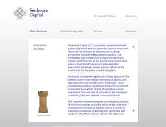screenshot from the live senhouse capital website