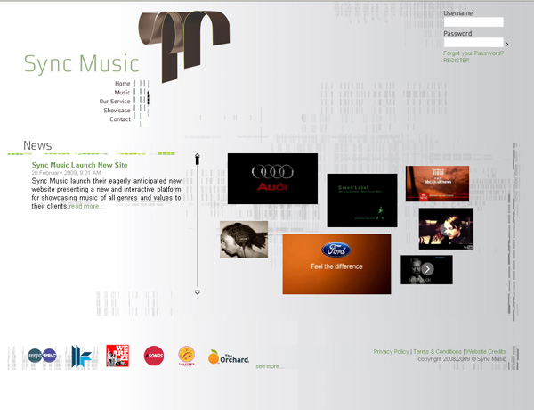 landing page of sync-music.com