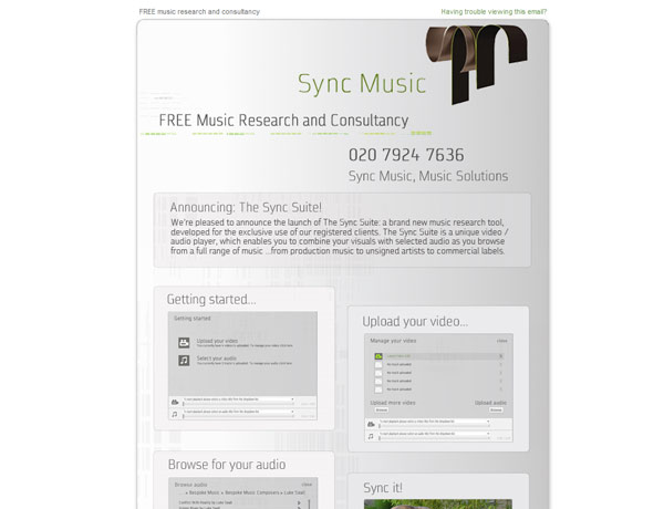 Sync Music HTML emails